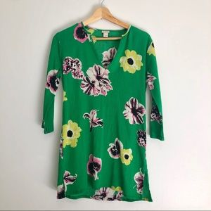 J.Crew green floral tunic size XS